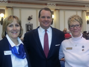 Rose Day 2015 at the Capitol. Becky VanPool and Mary Ann Schmitt with Lt. Gov. Todd Lamb